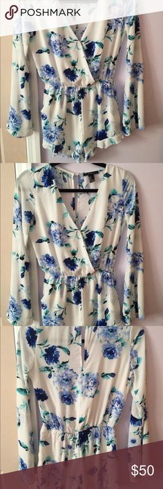 Forever 21 Romper Blue and white floral print romper from forever 21 worn only once. Very pretty. Forever 21 Other