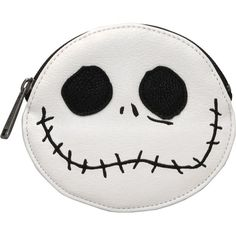 Loungefly Nightmare Before Christmas Jack Coin Bag ($20) ❤ liked on Polyvore featuring bags, loungefly bags, embroidery bag, hardware bag, faux-leather bags and vegan bags