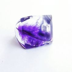 Purple Feather Pyramid Resin ring size 8.5