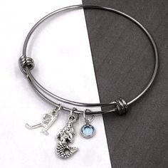 cd9cda795 Mermaid Bracelet Gifts, Personalized Silver Mermaid Jewelry for Women and  Girls, With Sterling Silver Birthstone and Letter Charm