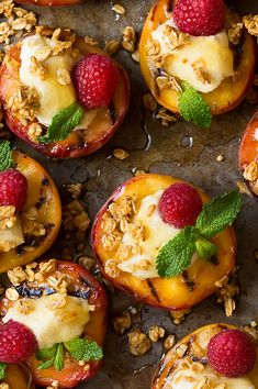 Grilled Peaches with Vanilla Bean Mascarpone, Honey and Granola - Cooking Classy
