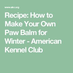 Recipe: How to Make Your Own Paw Balm for Winter - American Kennel Club