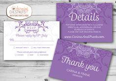 Purple Lace Wedding Invitation Set Printable by CharmingChestnuts