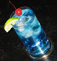 Polar Bear     (1 oz. Vodka  1 oz. Blue Curacao  6 oz. 7-Up  Lime Wedge and Cherry to garnish)