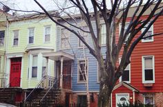 Restored blue old wooden house in Park Slope, Brooklyn