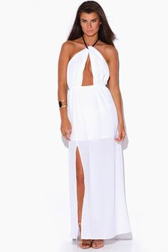 LOVE LIKE SIN | white crepe cut out high slit rope halter wrap neck backless evening party maxi sun dress - 1015store.com