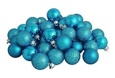 Felices Pascuas Collection 60ct Shatterproof Turquoise Blue 4-Finish Christmas Ball Ornaments 2.5 inch (60mm)