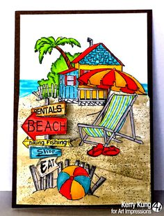 Beach House 4pc set. Sells for 22.95. Made a try fold card or individual cards. Made by: Art Impressions rubber stamps You can purchase all items in my ebay store: Pat's Rubber Stamps & Scrapbooks, Click on the picture & see the listing , or call me 423-357-4334 with order, We take PayPal. You get FREE SHIPPING ON PHONE ORDERS of $30.00 or more. If it says sold I have more. Use my search engine to find the items you are interested in.