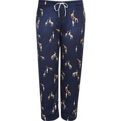 River Island Plus navy giraffe print pajama pants (740 MXN) ❤ liked on Polyvore featuring intimates, sleepwear, pajamas, lingerie & sleepwear, navy, pajamas / loungewear, women, plus size loungewear, womens plus size lingerie and lingerie sleepwear