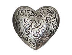 2 Danforth Florentine Heart Metal Shank Button 7/8 by ButtonJones, $7.60