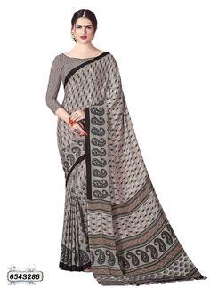 Buy Sensuous Beige & Grey Colored Crepe Casual Saree Online at Leemboodi Fashion: LEM654S286