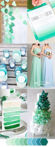 ombre green color ideas for unique wedding