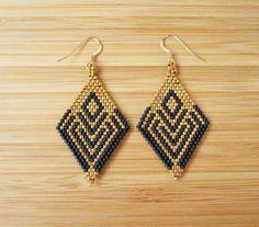 Boucles d'oreilles losange miyuki noir et doré en Gold par Ccedille