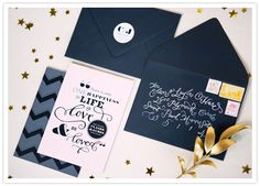 I love the navy envelopes with white calligraphy