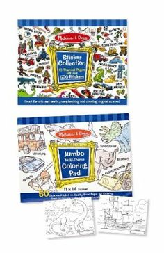 """Melissa & Doug Boys Coloring / Sticker Pad Bundle by Melissa & Doug. $9.99. 11"""" x 14"""" premium white bond paper with outline drawings. Over 500 stickers. Dinosaurs, sports, vehicles, animals, outer space and more. Exceptional quality and value. Includes boy-themed sticker book and coloring book. From the Manufacturer                Over 500 stickers are compiled in one giant sticker book. Each page is packed with stickers to illustrate favorite topics including dinosaurs, con..."""