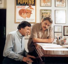 Richard M. Sherman and Robert B. Sherman at their Office on Hilldale Avenue, Los Angeles. Sherman Brothers, Musical Film, Film Score, Aristocats, Disney Stuff, Musicals, Songs, History, American