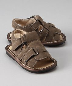 Take a look at this Gray Suede Squeaker Sandal by Mooshu Trainers on #zulily today!