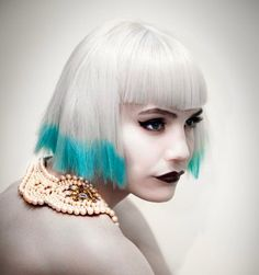 Street-chic, gamine tattered bob with turquoise dip-dyed color design by Steffi Tanian, apprentice for Chumba Concept Salons of Australia. #hotonbeauty fb.com/hotbeautymagazine