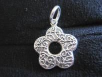 FLOWER SHAPED STERLING SILVER PENDANT. FREE SHIPPING