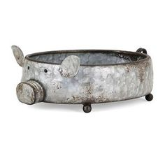 Made of galvanized metal, this clever piggy planter can be filled with your favorite herb and blooms, or used as a creative decorative tray. Dimension x x Weight lb Food Safe NO Outdoor Safe NO Materials IRON Metal Planters, Garden Planters, Garden Art, Planter Pots, Porch Planter, Glass Planter, Planter Ideas, Garden Ideas, Backyard Ideas