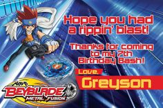 Customized Beyblade themed Thank You card by RadicalProductions, $8.00