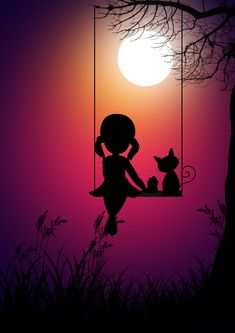 Kid girl and cat, swing, moon light, digital art, wallpaper Oil Pastel Art, Oil Pastel Drawings, Cute Drawings, Cute Wallpaper Backgrounds, Cute Cartoon Wallpapers, Wallpaper Wallpapers, Pretty Wallpapers, Screen Wallpaper, Art Anime Fille