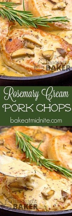 Pork chops cooked with a savory rosemary and mushroom sauce. Quick and easy skillet dinner! | bakeatmidnite.com | #pork #rosemary #30MinuteMeals