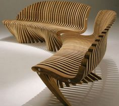 Outdoor Furniture - love the sinewy curving wood.