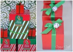 Such cute favors at a Holiday Bunco Party!  See more party ideas at CatchMyParty.com!  #partyideas #christmas
