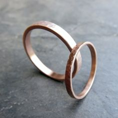 Waterfall Hammered Gold Rings - Matching Wedding Band Set in Solid Yellow or Rose Gold - Matte or Polished Textured Finish Matching Wedding Band Sets, Wedding Matches, Gold Wedding Rings, Wedding Bands, Gold Rings, Cheap Promise Rings, Or Rose, Rose Gold, Hammered Gold