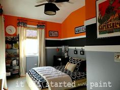 orange and grey bedroom
