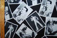 ELVIS fabric Elvis Presley photographs black by vintageinspiration