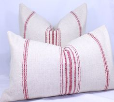 Cotton Off White Pillow in Red Primitive stripes. Lumbar Cotton Off White Pillow in Red Stripes. by PillowFever on Etsy https://www.etsy.com/listing/200713723/cotton-off-white-pillow-in-red-primitive