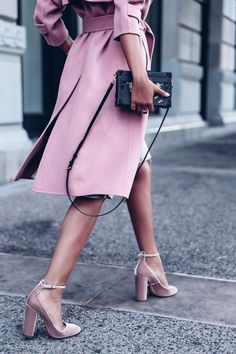 Pink Velvet Pumps + Pink Trench Coat + Louis Vuitton Petite Malle bag in Black