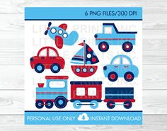 Transportation Vehicles Trains and Planes Car Truck Sailboat Clipart PERSONAL USE Instant Download