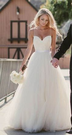 spaghetti strap white wedding dress #spaghetti strap #wedding dress