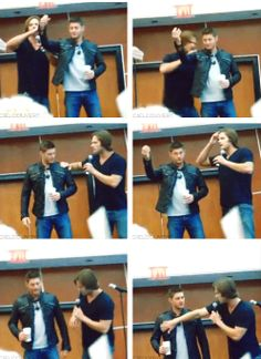 [gifset] I have no idea what Jared is trying to explain here, but I love how Jensen just goes along with it. His facial expressions kill me! <3 #Jensen #Jared