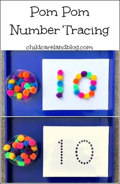 Pom Pom Number Tracing math activity for teaching number recognition, pre-writing and working on fine motor skills.