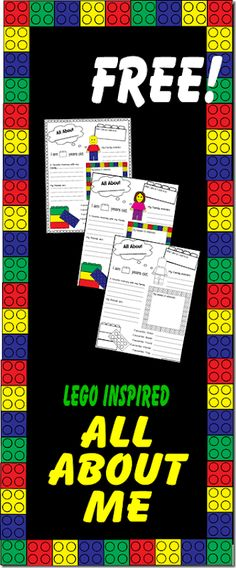 FREE All About Me Worksheet (Lego Style) - great for kids to fill out the first day of school to remember their handwriting, hobbies, interests, etc. All About Me Printable, All About Me Worksheet, Lego Activities, Back To School Activities, Back To School Worksheets, Lego Games, Counseling Activities, Free Worksheets, Printable Worksheets
