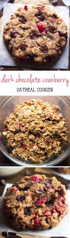 Clean-Eating Dark Chocolate Cranberry Oatmeal Cookies -- these skinny cookies don't taste healthy at all! You'll never need another oatmeal cookie recipe again!