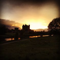 Trim Castle at sunset.  Trim Castle is the largest Norman castle in Ireland, it was built at the end of the twelfth century by Hugh de Lacy.