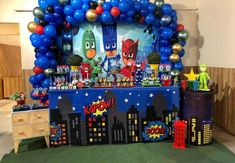 60 ideas to give a festa incrível to six kids - Birthday FM : Home of Birtday Inspirations, Wishes, DIY, Music & Ideas Pj Mask Party Decorations, Balloon Decorations, Birthday Decorations, 3rd Birthday Parties, Happy Birthday Cards, Pj Masks Balloons, Decor Eventos, Pjmask Party, Pj Masks Birthday Cake