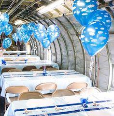 airplane theme. cloud balloons
