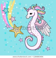 Illustration about Cute cartoon, rainbow seahorse unicorn with starfish. For the design of prints, posters. Illustration of happy, creature, cartoon - 136692526 Seahorse Cartoon, Seahorse Drawing, Seahorse Crafts, Baby Seahorse, Little Unicorn, Cute Unicorn, Cartoon Art, Cute Cartoon, Cartoon Mignon