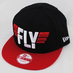 320416ee47e26 New Era 9fifty Slogan Fly Black Red Snapback Flat Peak Hat Cap