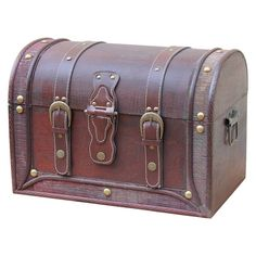 Antique Style Wood And Leather Trunk With Round Top - Quickway Imports, Brown