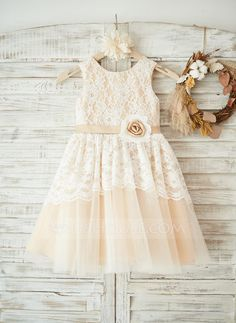 [US$ 64.49] A-Line/Princess Knee-length Flower Girl Dress - Lace Sleeveless Scoop Neck With Flower(s)
