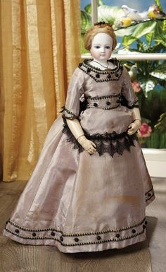Sanctuary: A Marquis Cataloged Auction of Antique Dolls - March 19, 2016: French Bisque Poupee with All-Wooden Articulated Body and Fine Antique Costume