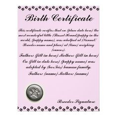 A dog birth certificate for a puppy or little of puppies ...
