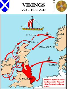 Map : Viking Settlements in the British Isles